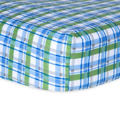 Trend Lab® Plaid Flannel Fitted Crib Sheet in Blue/Green