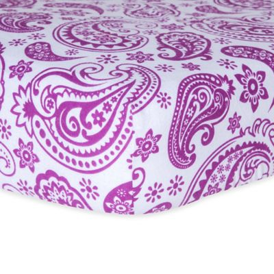Trend Lab® Paisley Flannel Fitted Crib Sheet in Orchid/White