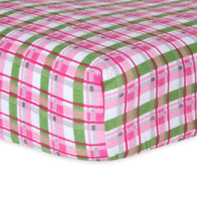 Trend Lab® Plaid Flannel Fitted Crib Sheet in Pink/Green