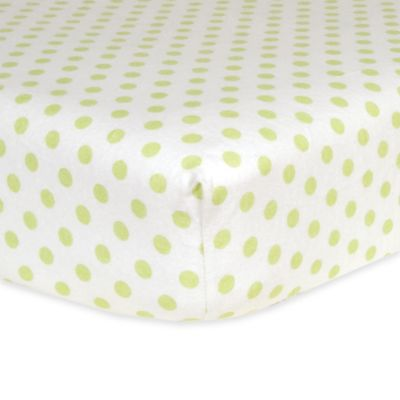 Trend Lab® Polka Dot Flannel Fitted Crib Sheet in Sage/White
