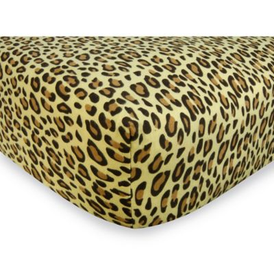 Trend Lab® Leopard Flannel Fitted Crib Sheets in Tan