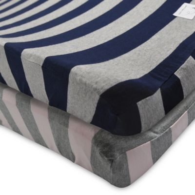 Burt's Bees Baby® Wide Stripe Organic Cotton Changing Pad Cover in Blueberry
