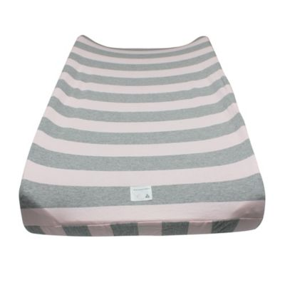 Burt's Bees Baby® Wide Stripe Organic Cotton Changing Pad Cover in Blossom
