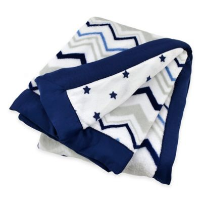 Just Born® Safe Sleep Chevron/Star Blanket in Navy