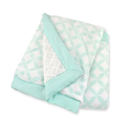 Just Born® Safe Sleep Reversible Hampton/Bridgeport Blanket in Bleached Aqua