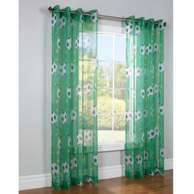 Commonwealth Home Fashions 84-Inch Soccer Window Curtain Panel in Green