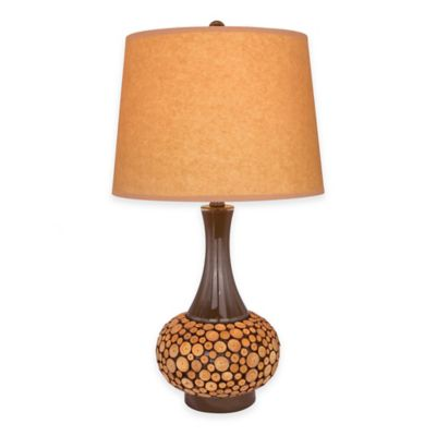 Fangio Lighting 24-Inch Table Lamp in Brown with Oil Kraft Paper Shade
