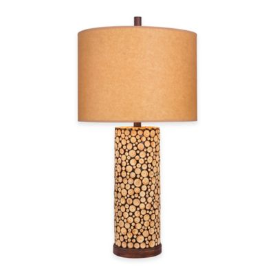 Fangio Lighting 31-Inch Table Lamp in Brown with Oil Kraft Paper Shade