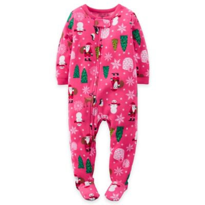 Carter's® Size 18M Christmas Fleece Footed Pajama in Pink