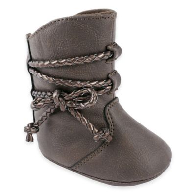 Trimfoot Co. Size 3-6M Tall Boot with Braided Tie in Brown