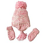 Toby™  Infant 2-Piece Sparkle Pom Hat and Mitten Set in Pink