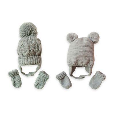 Toby™ N.Y.C. Newborn 2-Piece Double Pom Hat and Mitten Set in Grey