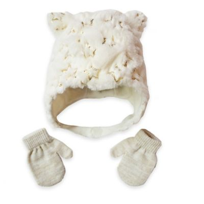Toby™ Toddler 2-Piece Furry Sequin Stars Critter Hat and Mitten Set in Ivory