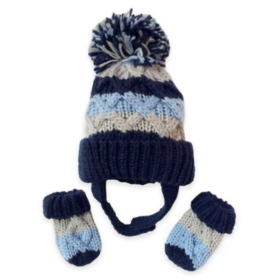 Toby™ N.Y.C. Newborn 2-Piece Striped Cable Knit Pom Hat and Mitten Set in Blue