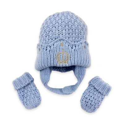 Toby™ N.Y.C. Newborn 2-Piece Seed Stitch Crown Knit Hat and Mitten Set in Blue