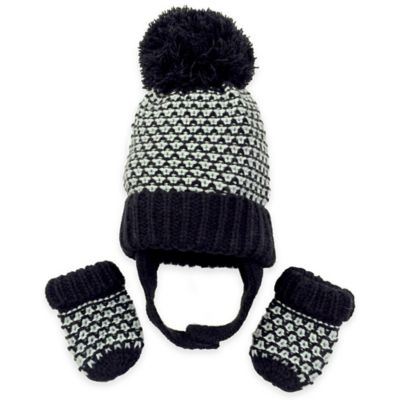 Toby™ N.Y.C. Infant 2-Piece Plaited Stitch Hat and Mitten Set in Black