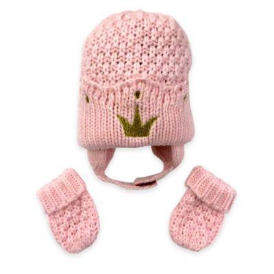 Toby™ N.Y.C. Newborn 2-Piece Seed Stitch Tiara Knit Hat and Mitten Set in Pink