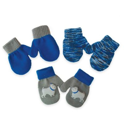 Toby™ N.Y.C. Infant 3-Pack Dog Graphic Gripper Mittens in Grey/Blue