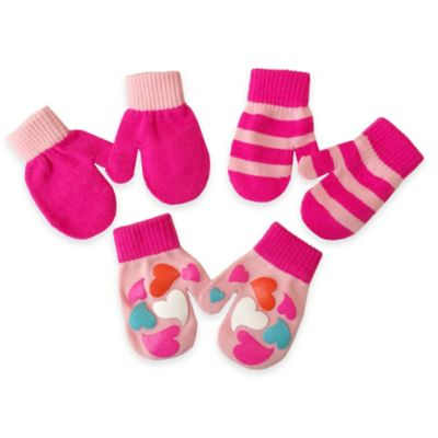 Toby™ N.Y.C. Infant 3-Pack Heart Graphic Gripper Mittens in Pink