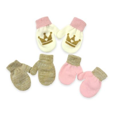Toby N.Y.C. Infant 3-Pack Crown Graphic Infant Mittens in Pink/Gold