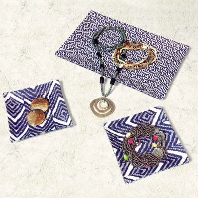 3-Piece Glass Jewelry and Trinket Tray Set in Blue