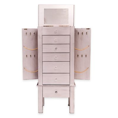 Hannah Jewelry Armoire in Silver Leaf