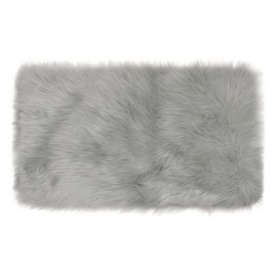 Frost Faux Fur 1-Foot 9-Inch x 2-Foot 10-Inch Accent Rug in Grey