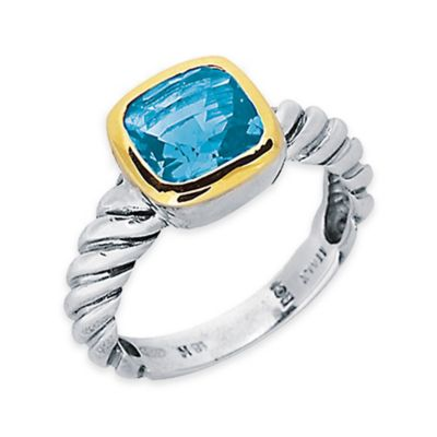 Phillip Gavriel Sterling Silver and 18K Gold-Plated Cushion Cut Blue Topaz Size 7 Ladies' Cable Ring