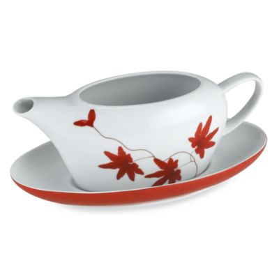 White Red Gravy Boat