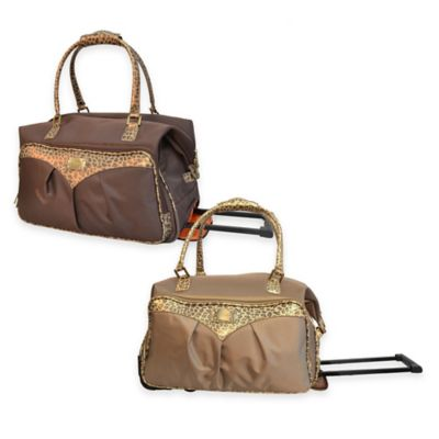 Adrienne Vittadini 22-Inch 1680 Denier Rolling Duffle in Tan with Leopard Trim