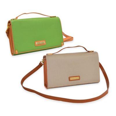 Adrienne Vittadini Saffiano PU Cross-Body/Clutch Bag in Green