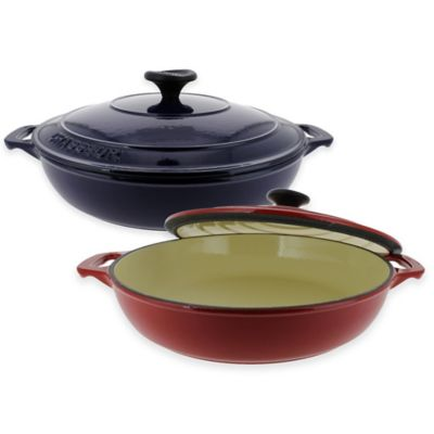 French Home Chasseur 1.8 qt. Cast Iron Braiser with Lid in Red