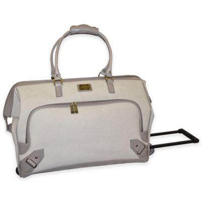 Adrienne Vittadini 22-Inch Linen Rolling Duffle