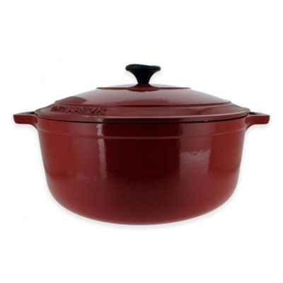 French Home Chasseur 6.6 qt. Cast Iron Covered Casserole in Red