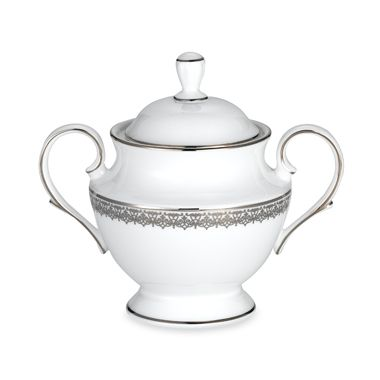 Lenox® Lace Couture Covered Sugar Bowl in White/Platinum