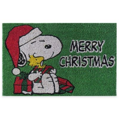 "Peanuts™ Snoopy ""Merry Christmas"" 18-Inch x 28-Inch Door Mat in Green"
