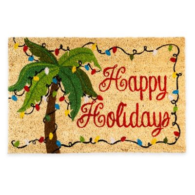 Happy Holiday Palm Tree 18-Inch x 28-Inch Door Mat