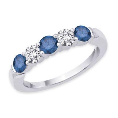 14K White Gold .50 cttw Blue and White Diamond Size 6 Ladies' 5-Stone Band