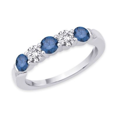 14K White Gold 1.0 cttw Blue and White Diamond Size 6 Ladies' 5-Stone Band