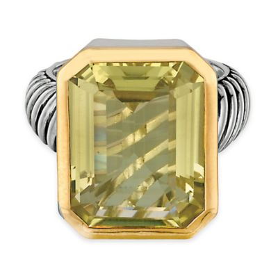 Phillip Gavriel Sterling Silver and 18K Gold Plated Octagonal Lemon Quartz Size 6 Ladies' Cable Ring