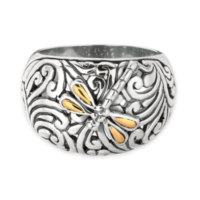 Phillip Gavriel Sterling Silver and 18K Gold Dragonfly Size 7 Ladies' Ring
