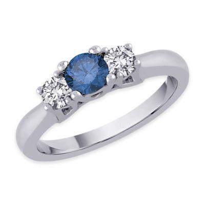 14K White Gold .50 cttw Blue and White Diamond Size 7 Ladies' 3-Stone Wedding Ring