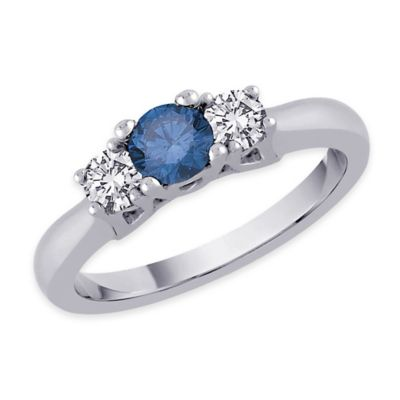 14K White Gold .75 cttw Blue and White Diamond Size 7.5 Ladies' 3-Stone Wedding Ring