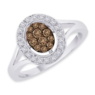 10K White Gold .33 cttw Brown and White Diamond Size 6 Ladies' Oval Split-Shank Wedding Ring