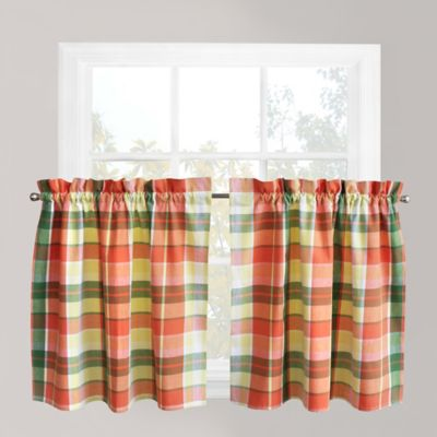 Park B. Smith Plaid Delight 24-Inch Window Curtain Tier Pair in Tangelo