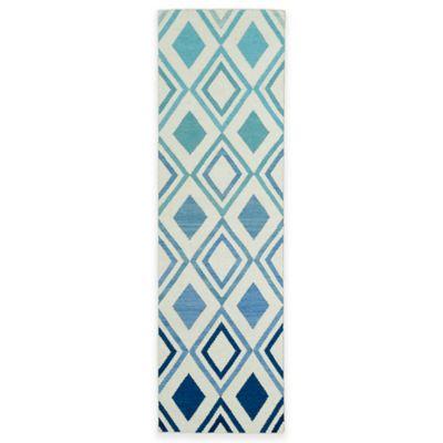 Kaleen Glam Ombre Diamonds 2-Foot 6-Inch x 8-Foot Runner in Blue