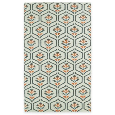 Kaleen Glam Floral 5-Foot x 8-Foot Area Rug in Coral