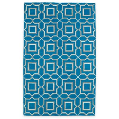 Kaleen Glam Tiles 5-Foot x 8-Foot Area Rug in Teal
