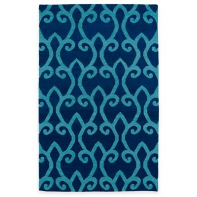 Kaleen Glam 5-Foot x 8-Foot Area Fret Rug in Blue