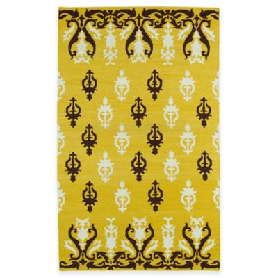 Kaleen Glam Damask 5-Foot x 8-Foot Area Rug in Light Brown